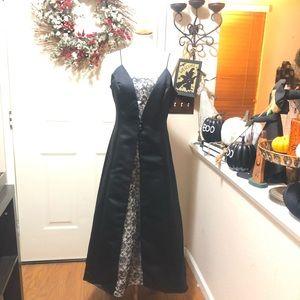 Black With Lace Detail De Laru Gown By Sheila Yen